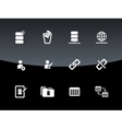 Database icons on black background vector image vector image