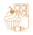 delicious cupcake with chocolate bar and candies vector image vector image