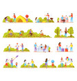 family activities orthogonal icons vector image