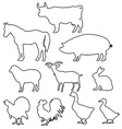 farm animals silhouettes in line style vector image vector image