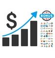 Financial Bar Chart Icon With 2017 Year Bonus vector image