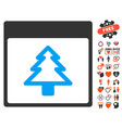 fir tree calendar page icon with love bonus vector image