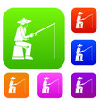 fisherman with a fishing rod set collection vector image vector image