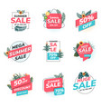flat design origami summer sale labels 3 vector image