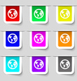 Globe icon sign Set of multicolored modern labels vector image
