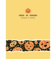 Halloween pumpkins vertical torn frame seamless vector image