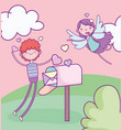 happy valentines day boy with mailbox card and vector image vector image