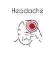 headache linear icon old man vector image