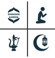 holiday icons set collection of man oriental jug vector image vector image