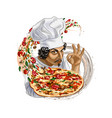 italian chef holding pizza on white background vector image