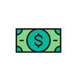 money cash dollar banknote flat color vector image