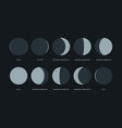 moon phases night symbols for moon calendar vector image