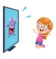 of kid watching tv vector image vector image
