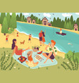 people on picnic outdoor with food and summer vector image