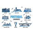 portugal landmarks set handdrawn sketch style vector image vector image