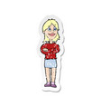 retro distressed sticker a cartoon proud woman vector image vector image