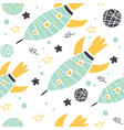 seamless pattern with doodle rockets and planets vector image vector image
