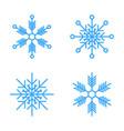 set 4 snowflakes thin line ftat design vector image vector image