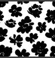 silhouette brush flowers seamless pattern vector image