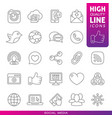 social media high quality line icons vector image vector image