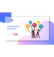 social media networking landing page template vector image vector image