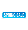 Spring sale blue 3d realistic square isolated vector image vector image