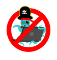 stop web pirate octopus and laptop ban sign vector image