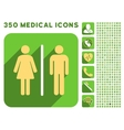 Toilet People Icon and Medical Longshadow Icon Set vector image vector image