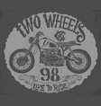 vintage motorcycle hand drawn t-shirt design vector image vector image