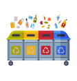 waste sorting different trash bins with sorted vector image vector image