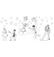 wedding cartoon set of vector image