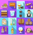 whisky icons set flat style vector image vector image