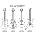Guitar outline icons set vector image