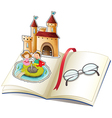 A book with a castle and a reading glasses vector image vector image