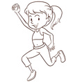 A plain sketch of a girl dancing vector image vector image