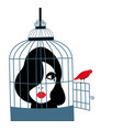 a woman caged in a birds cage vector image vector image