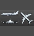 Aircraft airplane airliner in different point of vector image