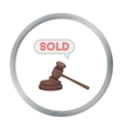 Auction hammer icon in cartoon style isolated on vector image