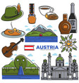 austria tourism travel landmarks and famous vector image vector image