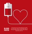 bag heart blood donation icon graphic vector image vector image