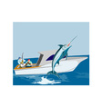 Blue Marlin Fish Jumping Retro vector image vector image