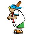 Boy playing baseball vector image vector image