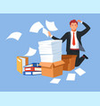 business paperwork man in stress overload folders vector image