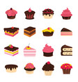 cartoon cake set isolated on white background vector image vector image