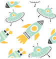 childish seamless pattern with doodle rockets vector image