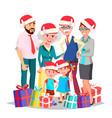 christmas family full family portrait vector image vector image