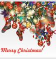 christmas fur tree socks candy bows bottons vector image vector image