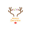 christmas greeting card design with a deer head vector image