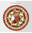 Christmas sock on ethnic mandala vector image vector image