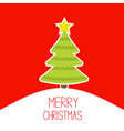 Christmas tree on a snowy hill Merry Christmas vector image vector image